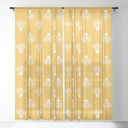 White wifi symbol with yellow background repeat pattern Sheer Curtain