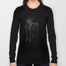Gothic Friesian Horse Long Sleeve T-shirt