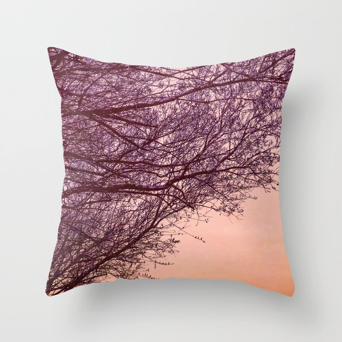 Purple Tree, Coral Orange Sky Throw Pillow