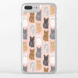 Scribble Kittens on Blush Pink Clear iPhone Case