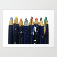Old pencils in a row Art Print