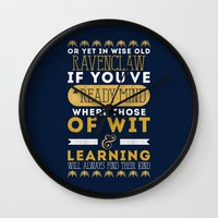 ravenclaw Wall Clocks featuring Ravenclaw by Dorothy Leigh