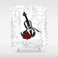 violin Shower Curtains featuring The Violin by Leatherwood Design