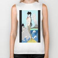 mermaids Biker Tanks featuring Japanese Mermaids by Paul Bridgeman
