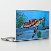 sea turtle Laptop & iPad Skins featuring Sea turtle  by maggs326