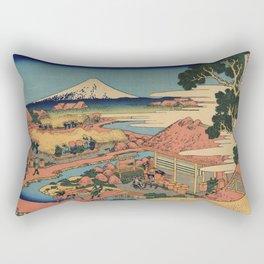 Hokusai Katsushika - The tea plantation Of Katakura In the Suruga province Rectangular Pillow