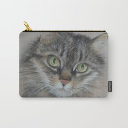 Tabby cat Maine Coon portrait Pastel drawing on the grey background Carry-All Pouch