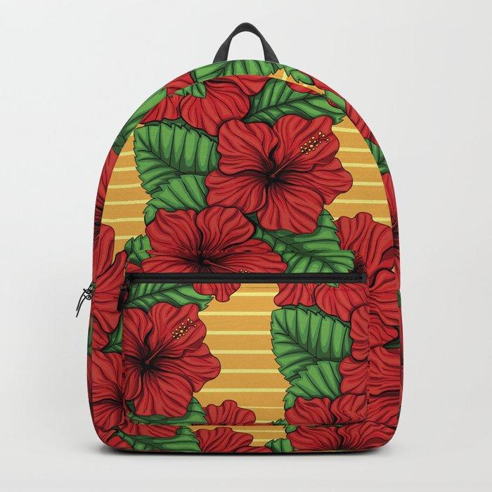 Hibiskcus and leaves, tropical pattern Backpack