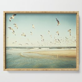 Birds on Beach Photography, Seagulls Flying Coastal Photo, Teal Bird Ocean Picture, Turquoise Aqua Serving Tray