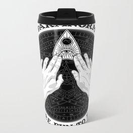 Me & Paranormal You - James Roper Design - Ouija B&W (black lettering) Metal Travel Mug