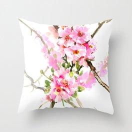 Cherry Blossom, pink floral art Throw Pillow