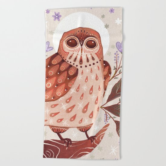 Owl Blooms Beach Towel