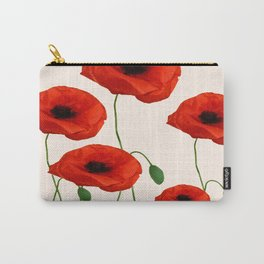 GRAPHIC RED POPPY FLOWERS ON WHITE Carry-All Pouch
