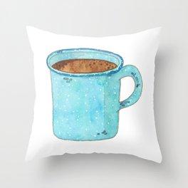Blue Enamel Coffee Mug Throw Pillow