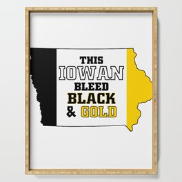 This Iowan Bleed Black & Gold Serving Tray