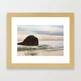 Pastel Moon rise at the beach Framed Art Print