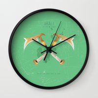 league of legends Wall Clocks featuring League of Legends: Akali by Monstruonauta