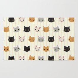 Cute Kitten & Stripes Pattern Rug