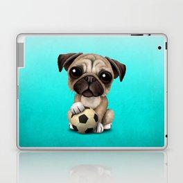 Cute Pug Puppy Dog With Football Soccer Ball Laptop & iPad Skin