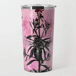 Vintage Bees with Toadflax Botanical illustration collage Travel Mug
