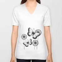 butterflies V-neck T-shirts featuring Butterflies by LouJah
