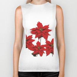 Red Poinsettia flower Biker Tank