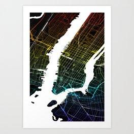Colourful City Map of New York, USA Art Print