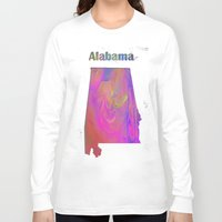 alabama Long Sleeve T-shirts featuring Alabama Map by Roger Wedegis
