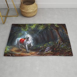 Magnificent Marvelous Magic Fantasy Unicorn Forest Clearing Ultra HD Rug