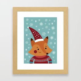 Xmas fox Framed Art Print