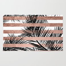 Trendy tropical palm trees chic rose gold stripes Rug