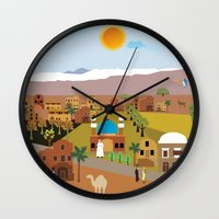 arab Wall Clocks featuring Peaceful Arab village In the desert by Design4u Studio