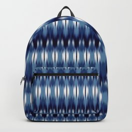 small geo ikat rows in reverse blue Backpack