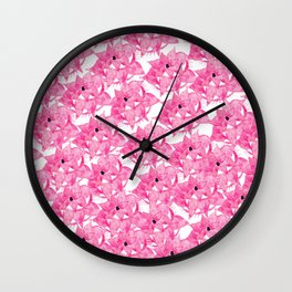 Modern hot pink watercolor hand painted floral pattern Wall Clock