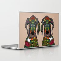 great dane Laptop & iPad Skins featuring Great Dane love beige by Sharon Turner