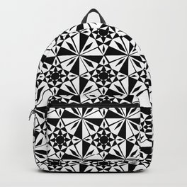 black and white symetric patterns 6- bw, mandala,geometric,rosace,harmony,star,symmetry Backpack