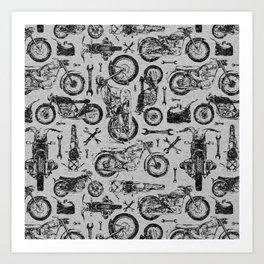 Vintage Motorcycle Pattern Art Print