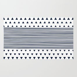 Triangle Stripe Geometric Modern Navy and White Rug