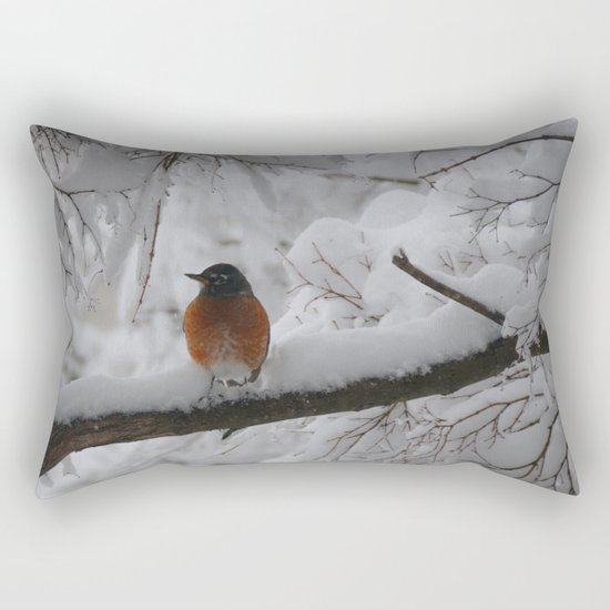 Surpised by the snow Rectangular Pillow