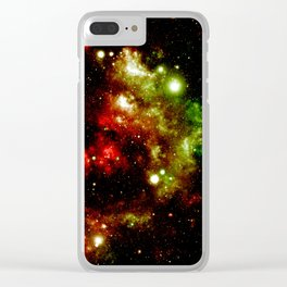 Galaxy Nebula Red Gold Green Clear iPhone Case