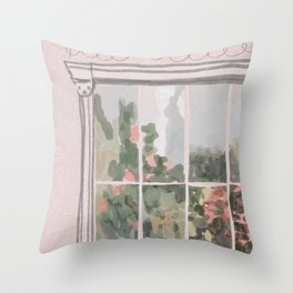 Victorian Greenhouse Watercolor Throw Pillow