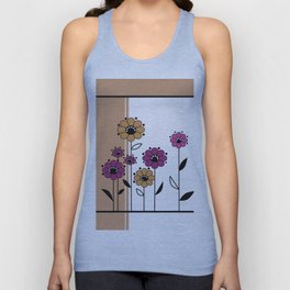 Floral applique , retro Unisex Tank Top