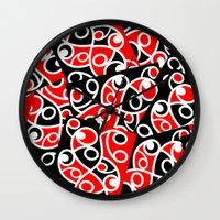 maori Wall Clocks featuring Maori Kowhaiwhai Patchwork Pattern by mailboxdisco