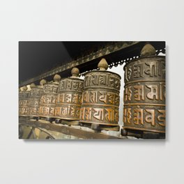 Tibetan Prayer Wheel Nepal Temple Metal Print
