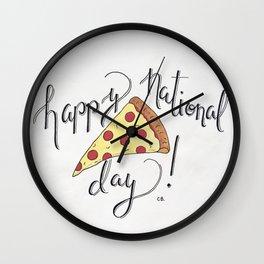 Happy National Pizza Day Wall Clock