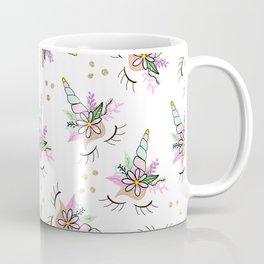 Modern cute whimsical floral unicorn pattern illustration gold glitter polka dots Coffee Mug