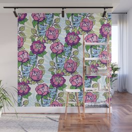 Peony flowers and koalas bears Wall Mural