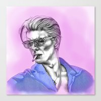 bowie Canvas Prints featuring Bowie  by Lucy Schmidt Art