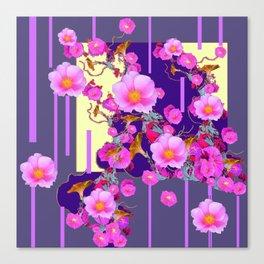 Modern Artwork Pink Wild Roses Purple Grey Design Canvas Print