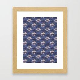 Biege and Blue Cute Kids Dolphin Silhouette Framed Art Print